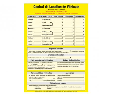 Affichage Obligatoire Location de Véhicule