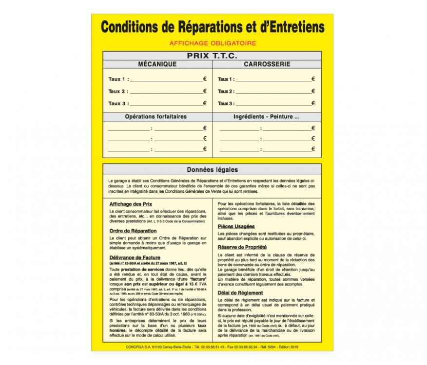 affichage conditions de r paration et entretien conorga