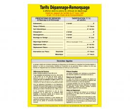 Affichage Dépannage-Remorquage