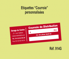 Etiquette Courroie de Distribution personnalisée