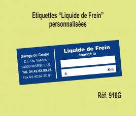"""Etiquette """"Liquide de Frein"""" personnalisés"""