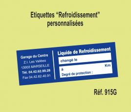 """Etiquette """"Liquide de Refroidissement"""" personnalisés"""